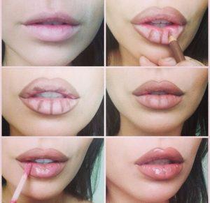 Макияж губ с эффектом увеличения